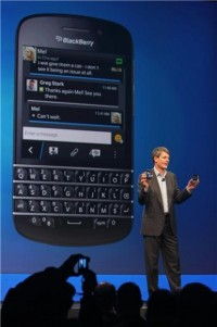 Blackberry-CEO Thorsten Heins präsentiert BlackBerry 10. Quelle: ZDNet.