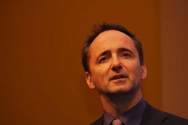 Jim Hageman-Snabe stellt in Frankfurt SAP Business Suite für HANA vor. Quelle: Martin Schindler