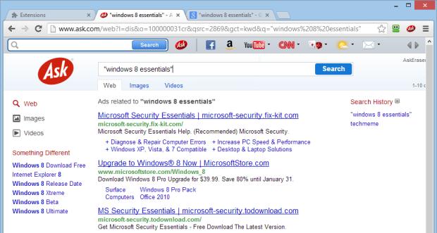 Hier ein Suchergebnis von Ask. Beworbene Ergebnisse werden nicht kenntlich gemacht.