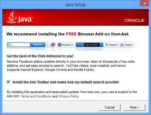 Der erste Dialog für die Java-Installation. Quelle: ZDNet.com