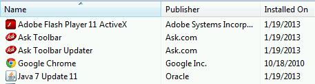 Erst nach 10 Minuten taucht Ask bei den Installierten Programmen auf.