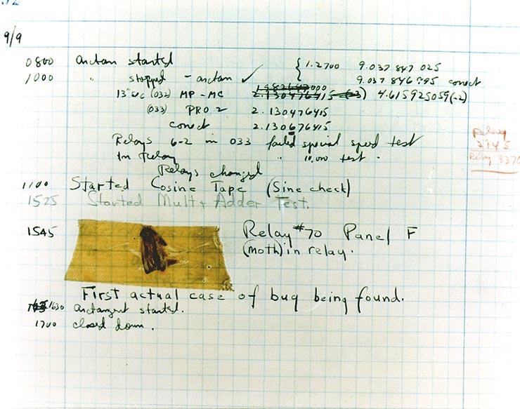 Der erste nachweislich echte 'Bug' der Geschichte ist eine Motte.