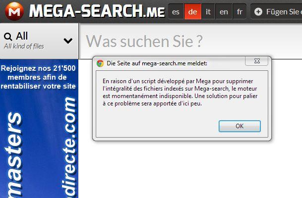 Mega, Kim Dotcoms neuer Musikdienst löscht offenbar legale Dateien. Die ensprechende Suche, ist derzeit nicht erreichbar.