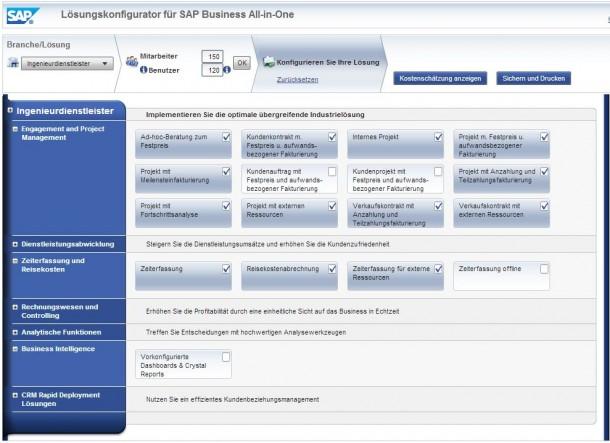 Schon ein Blick in den SAP-Lösungskonfigurator für die Mittelstandslösung All in One zeigt, dass es in der SAP-Lizenzfrage keine einfachen Antworten geben kann.
