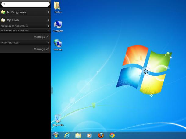 Unity Touch und die neue Sidebar. Quelle: VMware