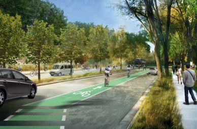 So könnten die Radwege auf dem Apple Campus 2 aussehen.