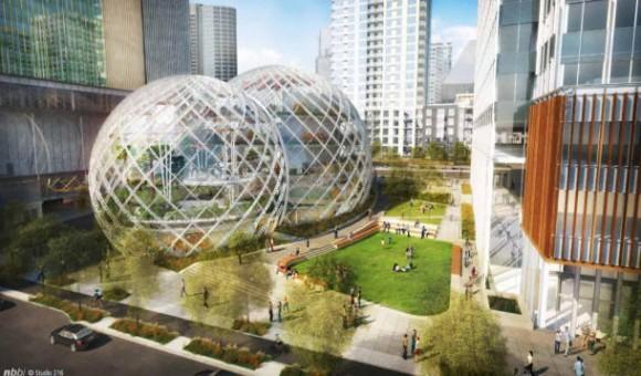 Amazons Design-Idee für den Firmen-Campus in Seattle. Quelle: NBBJ.