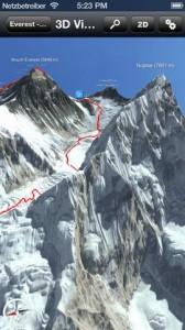 Die 3D-App für den Mount Everest für iOS mit eingezeichneter Route. Screenshot: 3D RealityMaps.