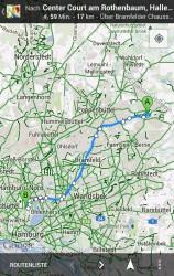 Google Maps für Android bietet jetzt auch eine Fahrradnavigation durch Deutschland. Screenshot: Google.