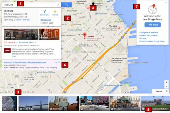 Die neue Maps-Oberfläche stellt die Karte in den Mittelpunkt. Quelle: Google Operating System.