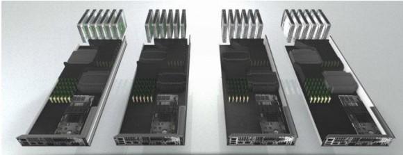 Ein zerlegter NX-Block von Nutanix: Jeder Block enthält vier Server-Prozessoren, jeweils mit Arbeits- und SSD-Speicher, Festplatten, Netzwerkkomponenten und einer Vorinstallation von VMware vSphere 5.x sowie Nutanix-Betriebssystem und -Filesystem. Quelle: Nutanix.