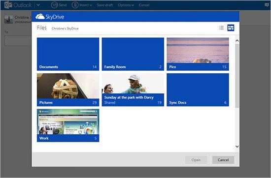 Outlook.com ist nun deutlich besser mit Skydrive integriert. Bilder oder andere Dateien lassen sich jetzt direkt in eine Mail einfügen. Quelle: Microsoft