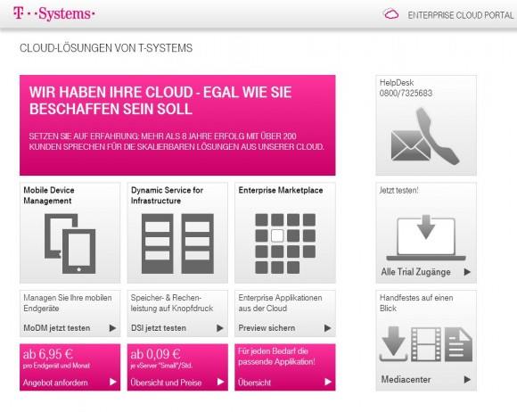 "Das ""Enterprise Cloud Portal"" von T-Systems richtet sich an Großkunden. Screenshot: ZDNet."