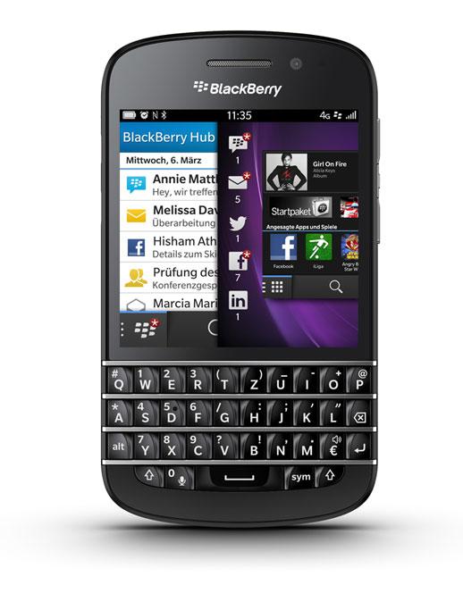 Das BlackBerry Q10 vereinigt Touch und Tastatur mit einem effizienten und lernfähigen Betriebssystem. Quelle: BlackBerry
