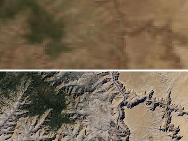 Die neue Auflösung in Google Maps im vergleich zu den Aufnahmen aus dem NASA-Programm Blue Marble. Quelle: Google
