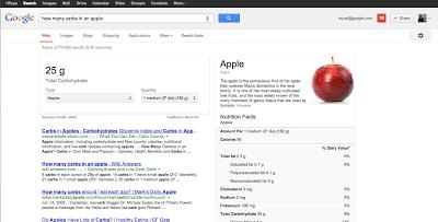 Google Search App liefert künftig auch eine Nährwerttabelle zu einzelnen Nahrungsmitteln und Gerichten. Quelle: Google