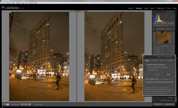 Ein neues Tool in Adobe Lightroom 5 erleichtert das horizontale Ausrichten einer Aufnahme. Quelle: Lori Grunin/CNET.