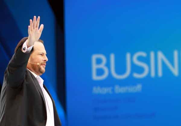 Marc Benioff auf der Dreamforce 2012. Damals waren der Salesforce-CEO und Oracle-Chef Larry Ellison noch hochgradig zerstritten.