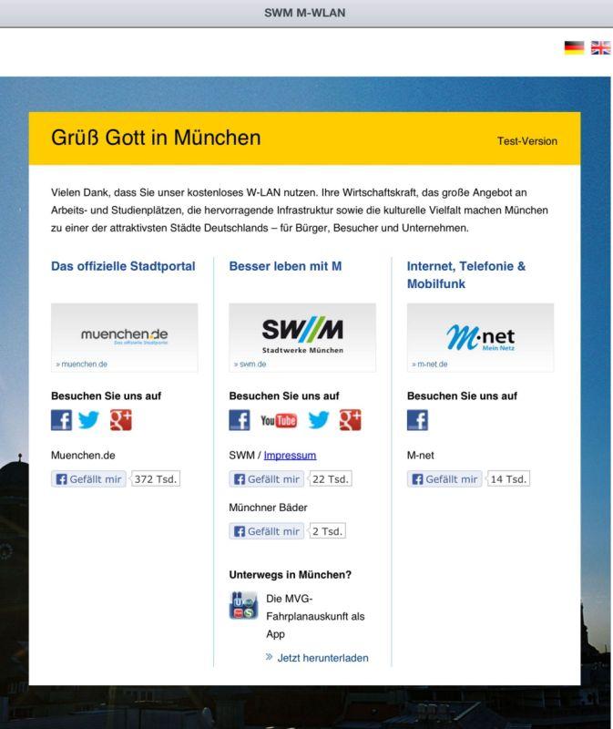 Diese Startseite bekommen Münchner am Marienplatz angezeigt, wenn sie sich in das öffentlich zugängliche Netz einwählen. Quelle: Stadtwerke München