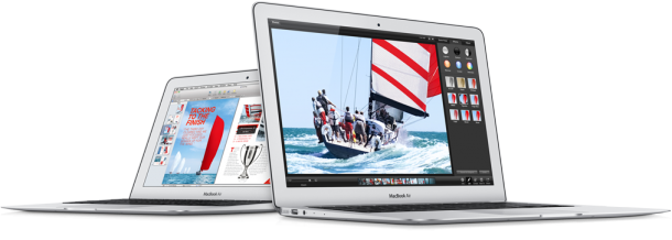 Zwei neue Modelle des MacBook Air gibt es ab sofort von Apple. Die Haswell-basierten Geräte sollen bis zu 13 Stunden Akkulaufzeit liefern. Quelle: Apple