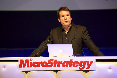 MicroStrategy-CEO Michael Saylor auf der Microstrategy World 2013 in Barcelona. Quelle: MicroStrategy