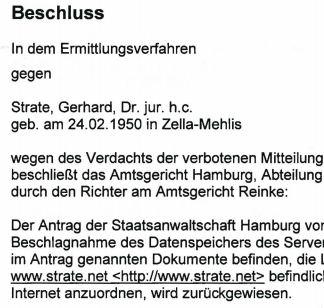 Gustl Mollath, Verteidiger Strate zu Veröffentlichungen im Internet. Quelle: Strate.net
