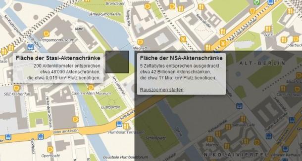 Links die Fläche, die nötig ist, um die Stasi-Unterlagen zu archivieren. Rechts ist nur ein verschwindend geringer Teil der nötigen Fläche zu sehen, die nötig wäre um die Kapazität der NSA in Aktenschränken unterzubringen. Quelle: Open Data City