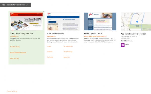 Die Desktop-Suche verliert mit Windows 8.1 ihre Neutralität: Künftig werden hier aus einer Vielzahl von Quellen Ergebnisse angezeigt, auch Yahoo-Bing-Werbekunden sollen sich hier einen Platz sichern können. Quelle: Microsoft
