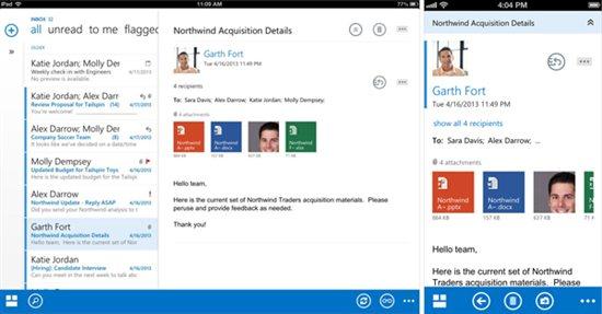 Links das zweispaltige Design von Outlook Web App auf dem iPad und rechts das einspaltige für das iPhone. Quelle: Microsoft.