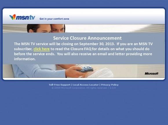 Apple hebt gerade an, beim Internet-TV große Schritte zu machen und Microsoft schließt den entsprechenden Service MSN TV zum 30. September. Quelle: MSN TV