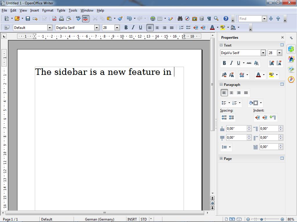 Die neue Sidebar in OpenOffice 4.0 in Writer. Quelle: ASF