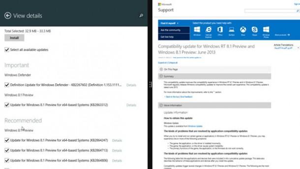 Die Preview von Windows 8.1 hat jetzt ein erstes Update bekommen. Microsoft behebt damit Fehler und verbessert die Kompatibilität mit Drittanbietern. Screenshot: CNET.com