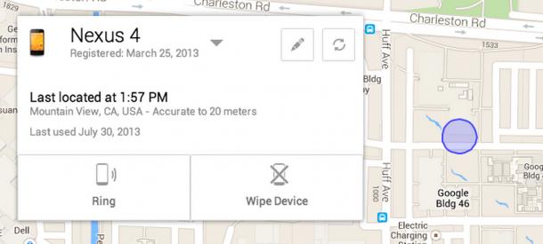 Mit Hilfe des ADM können Smartphone-Besitzer ihr verlorenes Handy in Echtzeit orten oder alle Daten per Fernzugriff löschen (Bild: Google).