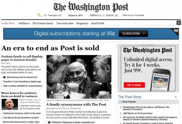 """Die Washington Post spricht im Zusammenhang mit dem Verkauf durch die Eigentümerfamilie Graham an Jeff Bezos vom """"Ende einer Ära"""" (Screenshot: ZDNet.de)"""