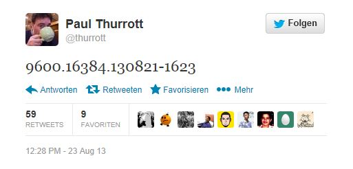 Der RTM von Windows 8.1 soll laut Paul Thurott die Build-Nummer 9600.16384.130821-1623  tragen. Screen: ZDNet.com