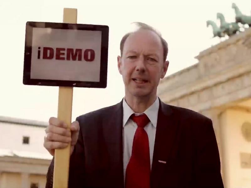Die Partei und Martin Sonneborn rufen zur iDemo auf (Screenshot)