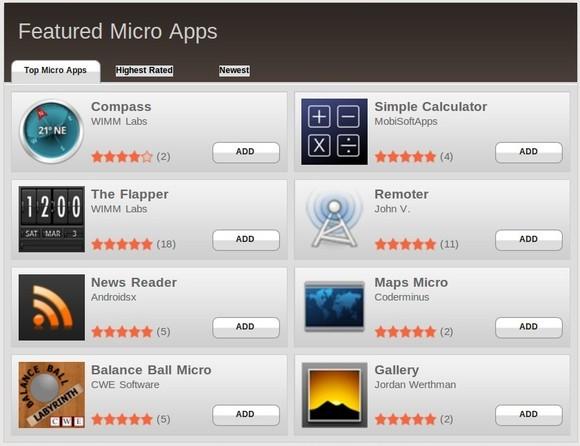 App Store mit Micro Apps für eine Smartwatch (Bild: WIMM Labs)