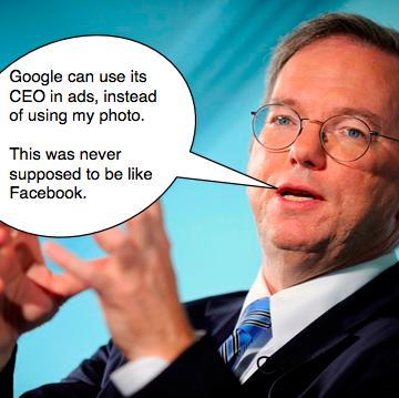 """Eric Schmidt ist zwar nicht mehr CEO von Google, dennoch  muss sein Portrait für den Protest gegen das neue Werbe-Feature """"Soziale Empfehlungen"""" herhalten."""