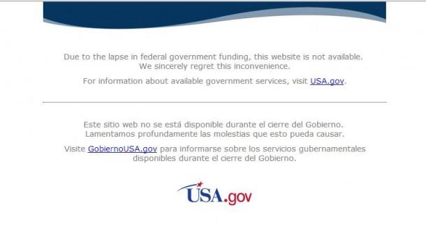 Over und aus! Der Government Shutdown hat auch das Web-Angebot der USA fest im Griff. Ein Land lähmt sich selbst.