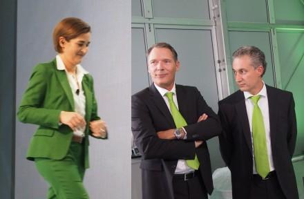 Grüne Krawatten, grüne Business-Kostüme – auch farblich demonstrierte das Topmanagement von Unify die neue Corporate Identity. (Foto: Mehmet Toprak).