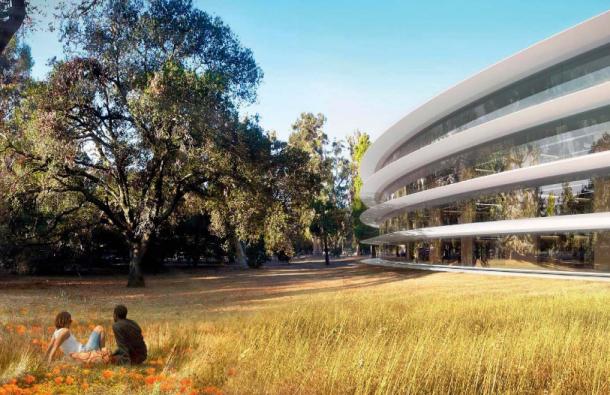 Künstlerische Darstellung von Apples geplanter Raumschiff-Zentrale