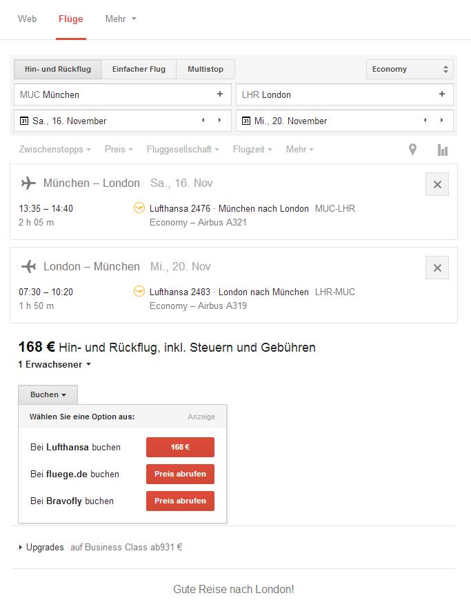 Googles Flugsuche ist jetzt auch in Deutschland verfügbar (Screenshot: ZDNet.de).