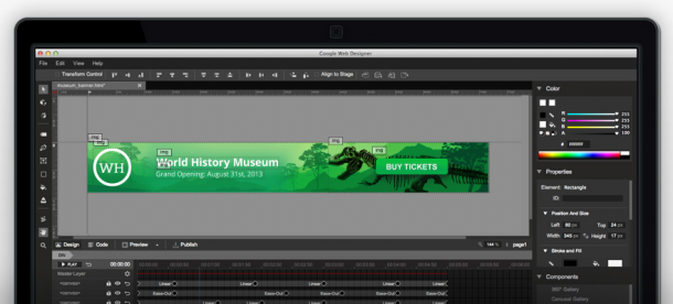 Der visuelle Modus des kostenlosen HTML5-Anzeigen-Tools Google Web Designer. Quelle: Google