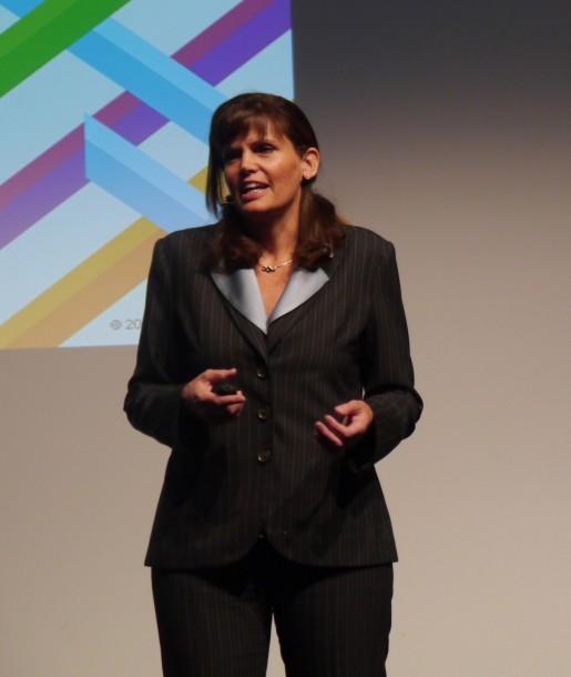 """""""Wer über Hana nachdenkt, sollte sich auch unsere Lösung anschauen"""", so Mychelle Mollot auf IBMs Konferenz BusinessConnect in Mannheim. Quelle: M. Strehlitz"""