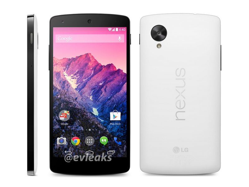 Das Nexus 5 soll mit der neuesten Android-Version 4.4 KitKat in den Handel kommen. (Bild: @evleaks)