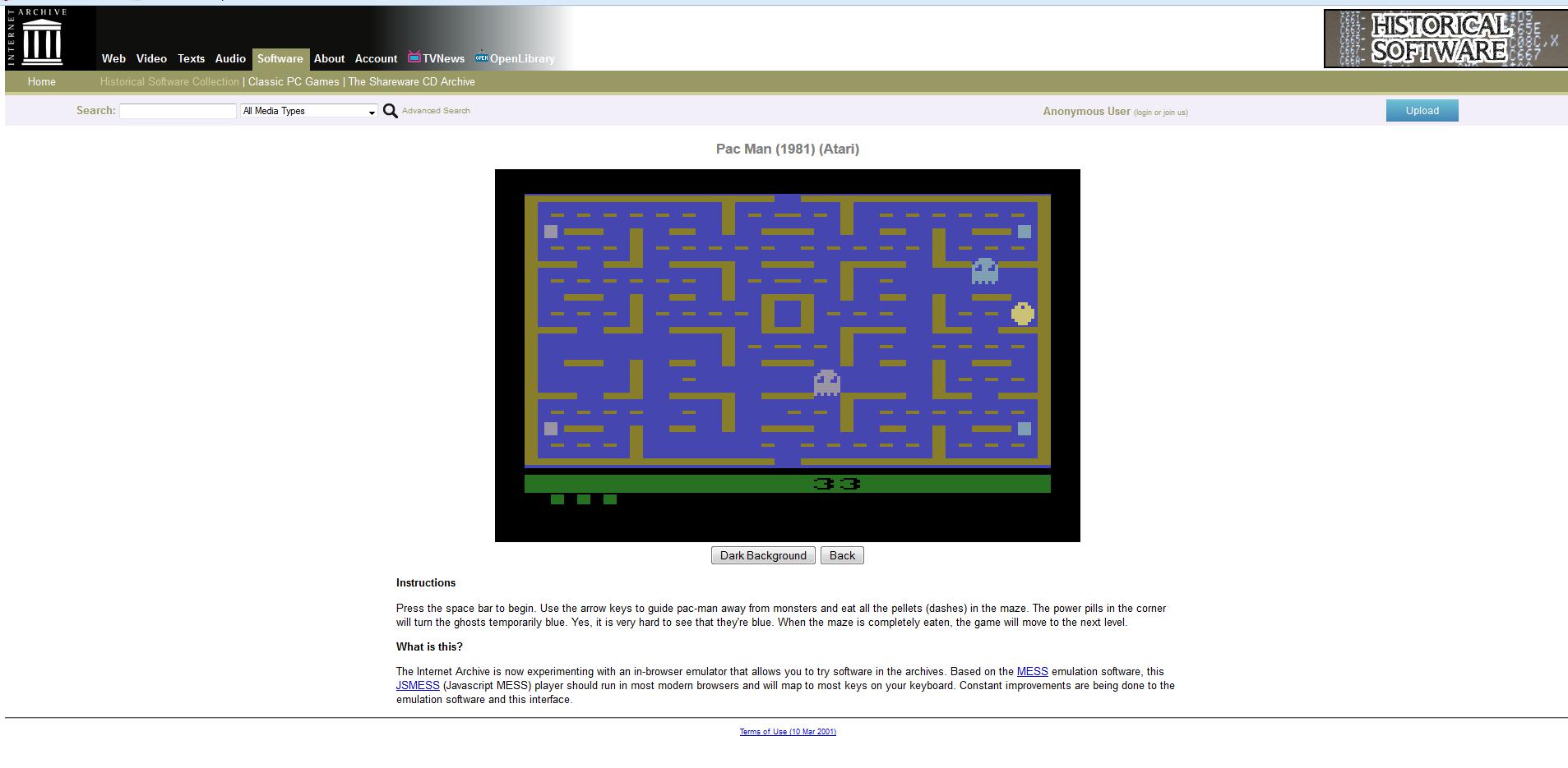 Auch Pac Man von 1981 befindet sich in der Historical Software Collection. (Screenshot: archive.org)