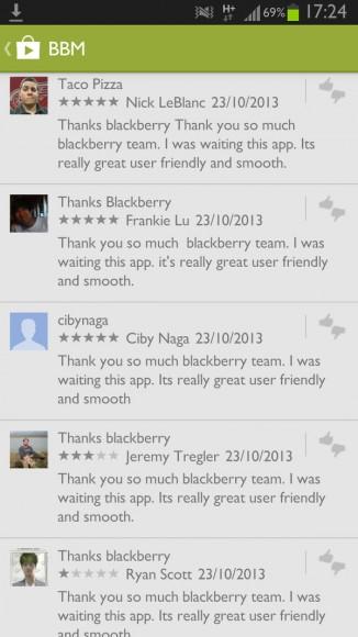 """""""I was waiting this App"""", diese Formulierung verwenden viele der massenweisen Kommentare in Google Play zu BBM. Quelle: T. Eden"""