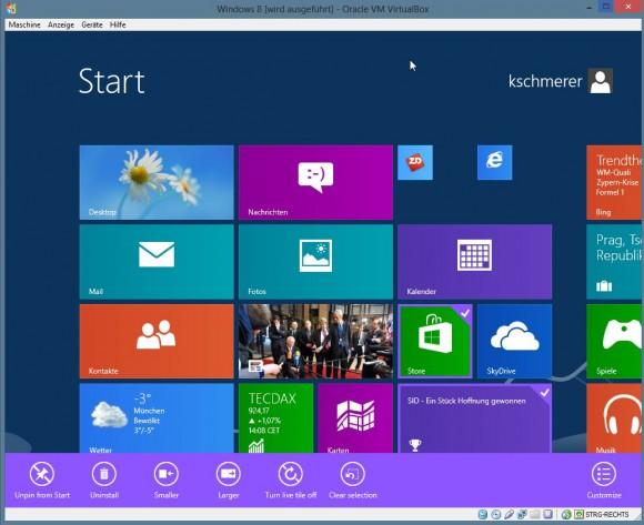 Das neue Windows-Start-Menü ist der Startbildschirm. Über die so genannten Tiles kann der Anwender schnell auf Programme und Dienste zugreifen. Screenshot: ZDNet.de