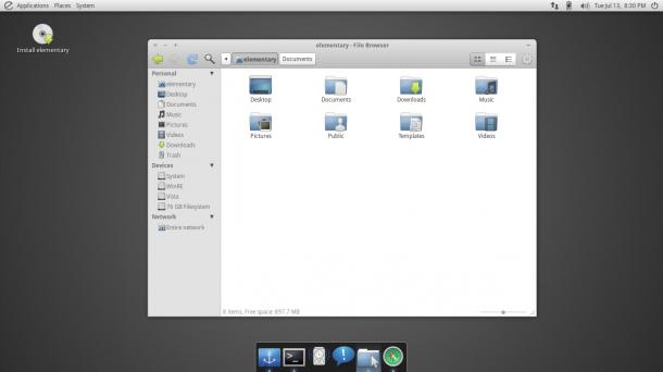 Die Developer-Preview von Elementary OS Luna. Quelle: Elementary OS