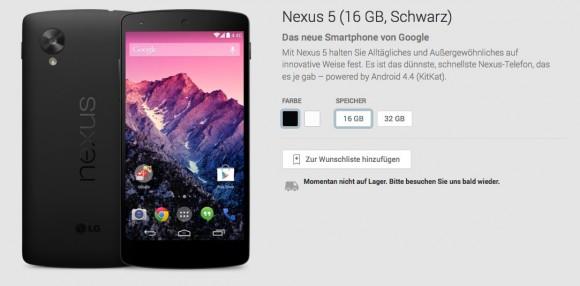 Bei Google Play ist das Nexus 5 inzwischen nicht mehr zu haben. Screenshot: ZDNet.de